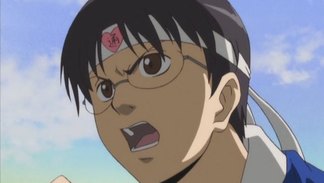 Shinpachi Shimura pours his heart into supporting his favorite idol in a scene from the Gintama TV anime.