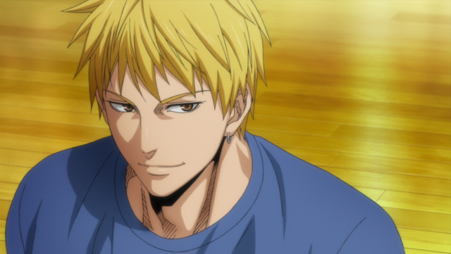 Ryota Kise flashes a smirk on the court in a scene from the Kuroko's Basketball TV anime.