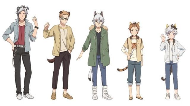 A character visual from the Uchitama?! ~ Uchi no Tama Shirimasen ka? ~ TV anime, featuring Bull, Gon, Nora, Tora, and Tama in human form.