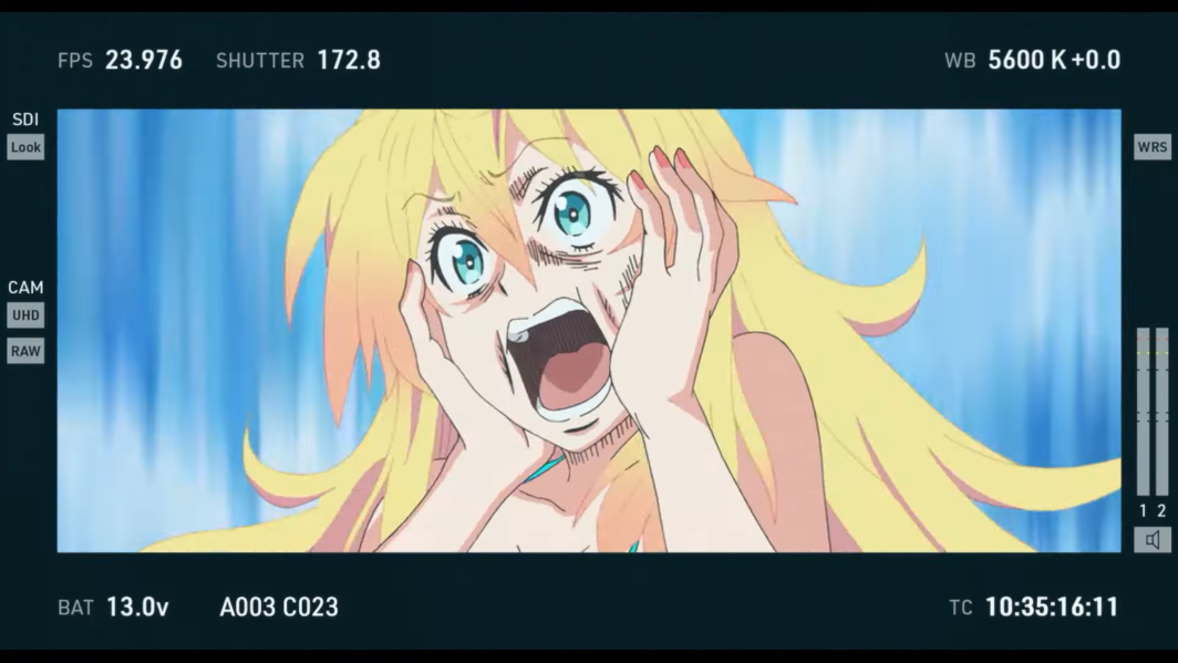 Movie starlet Mystia freaks out on-camera while dressed in a bikini in a scene from the upcoming Pompo: The Cinéphile theatrical anime film.