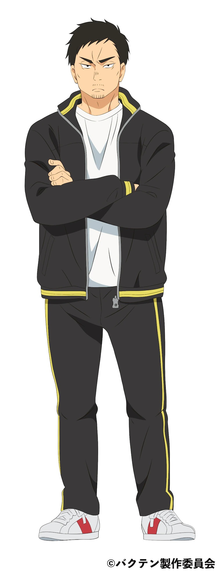 ¡Un escenario de carácter para Shuji Mabuchi, un hombre de aspecto severo de unos treinta años con cabello oscuro, una expresión severa y un fino bigote y perilla que sirve como sofá para el club de gimnasia rítmica masculina de Shiro High School en el próximo Bakuten!  Anime de TV.  Shuji está vestido con un chándal negro con reflejos de rayas amarillas y zapatillas blancas y rojas, y está de pie con los brazos cruzados.