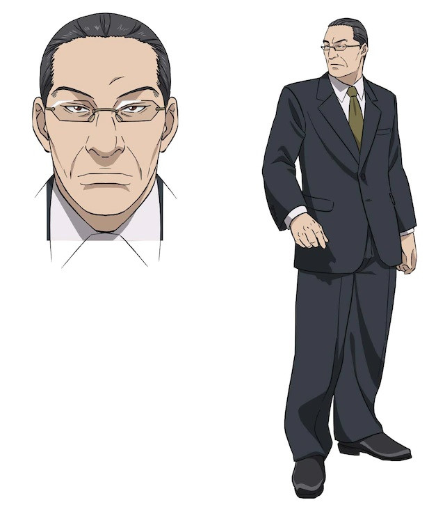 Katsuragi, a middle-aged man with slicked back hair, glasses, and a suit in the upcoming pet TV anime.