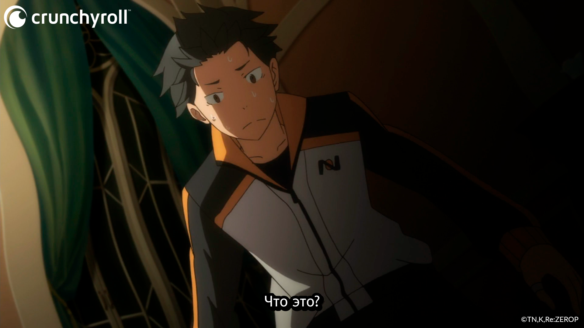 Natsuki Subaru begins to fall victim to a deadly curse in a scene from the Re:ZERO -Starting Life in Another World- TV anime.