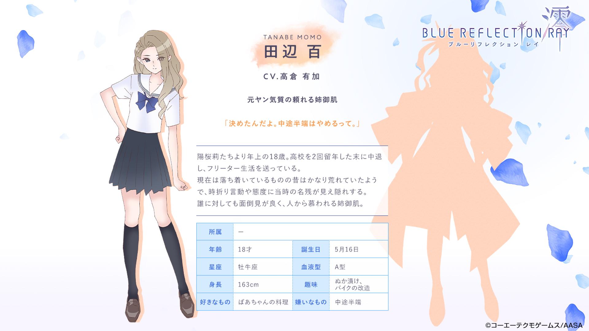 Un escenario de personajes de Momo Tanabe, una chica de secundaria con cabello largo, ondulado y de color claro que está vestida con su uniforme escolar, del próximo anime BLUE REFLECTION RAY / Mio TV.