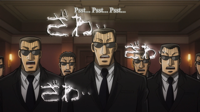 The men in black are overcome with nervous feelings in Mr. TONEGAWA Middle Management Blues.