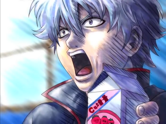 Gintoki Sakata overreacts while clutching a carton of strawberry milk in a scene from the Gintama TV anime.