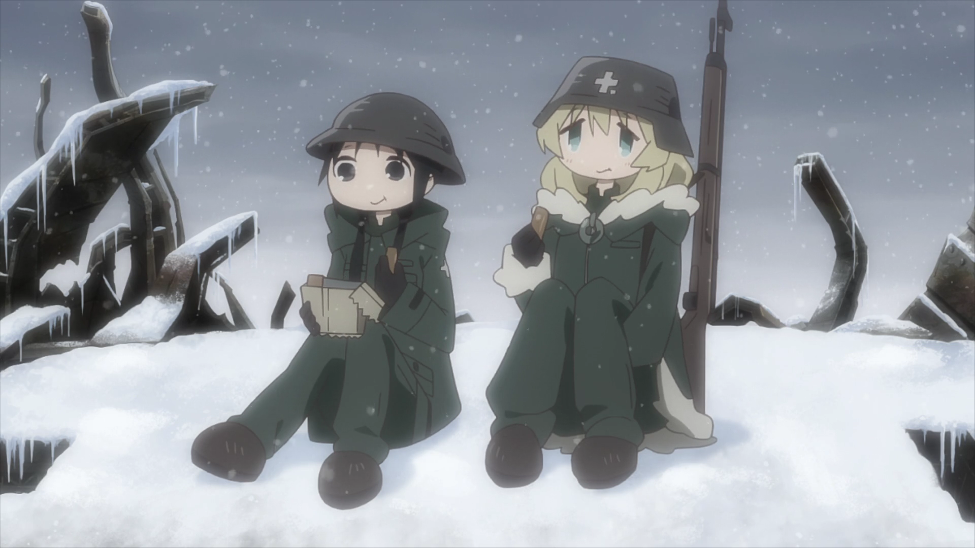 Chii-chan and Yuu enjoy a meal of chocolate-flavored ration bars in a snowy scene from the Girls' Last Tour TV anime.