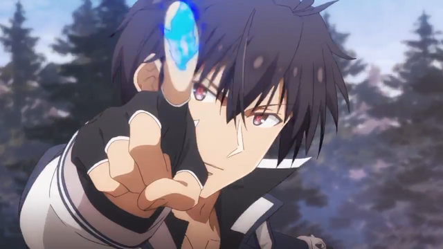 Anos Voldigoad, the main character of the upcoming The Misfit of Demon King Academy TV anime, prepares to unleash a torrent of blue hellfire from his outstretched fingertip.