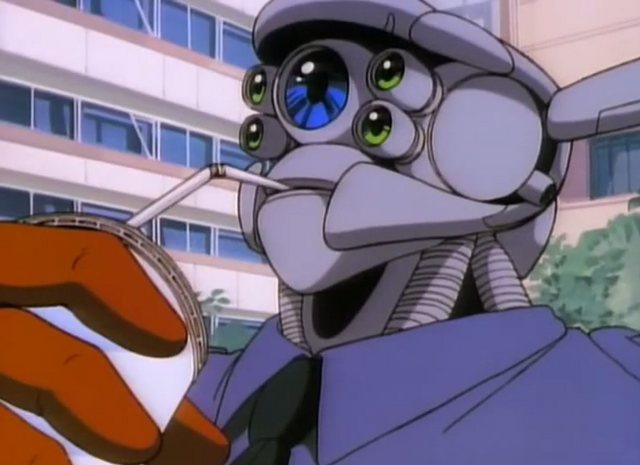 Cyborg police specialist Briareos Hecatonchires enjoys a sip of soda in a scene from the 1988 Appleseed OAV.
