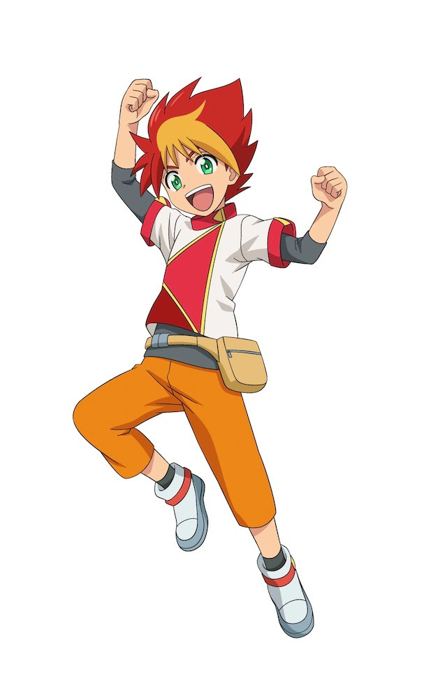 A character visual of Raiga Kudou, one of the twin-protagonists of Tomica Kizuna Gattai: EARTH GRANNER. Raiga has fiery red hair, green eyes, and an exuberant expression.