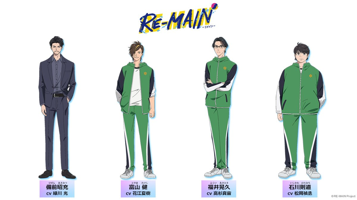 Un escenario de personajes con los diseños de Akimitsu Bizen, Takeshi Toyama, Akihisa Fukui y Norimichi Ishikawa del próximo anime de televisión RE-MAIN.