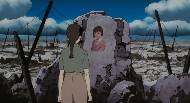 In a bombed out landscape, actress Chiyoko Fujiwara confronts an image from her past.