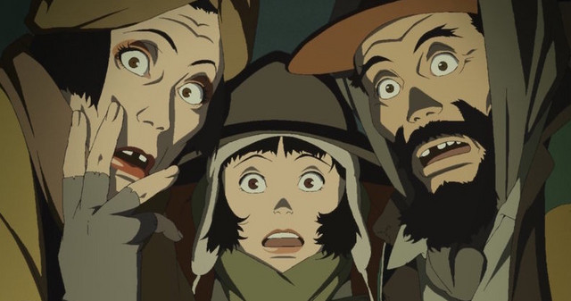 The three homeless protagonists react in shock as they discover an infant child hidden among a pile of trash in a scene from the 2003 theatrical anime film, Tokyo Godfathers.