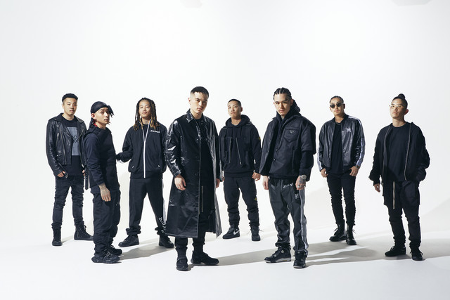 The members of hip-hop group BAD HOP, consisting of T-Pablow, YZERR, Tiji Jojo, Benjazzy, Yellow Pato, Bark, G-K.I.D, and Vingo.