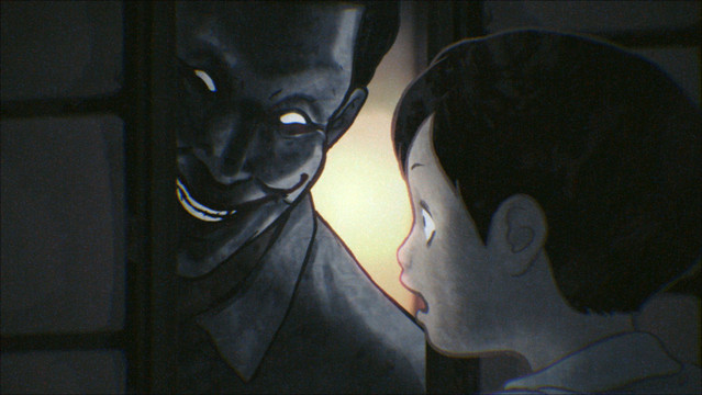 An adult man menaces a small child with a ghoulish grin in an early episode of Yamishibai: Japanese Ghost Stories.