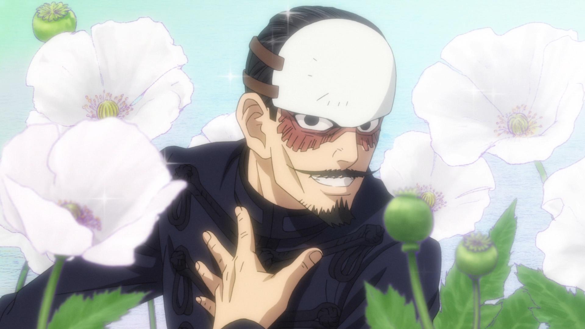 El primer teniente Tsurumi ocupa un lugar preponderante en la imaginación de él, el segundo teniente Otonoshin Koito, en una escena del anime de televisión Golden Kamuy.