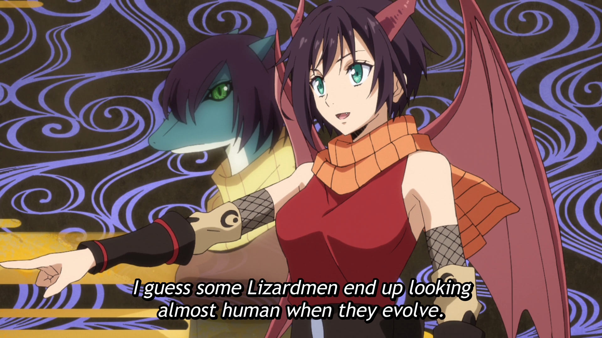 After receiving the name of 'Soka' from Rimiru, Gabiru's sister evolves from a reptilian-appearing Lizardman to a more human-looking Dragonewt in a scene from the That Time I Got Reincarnated as a Slime TV anime.