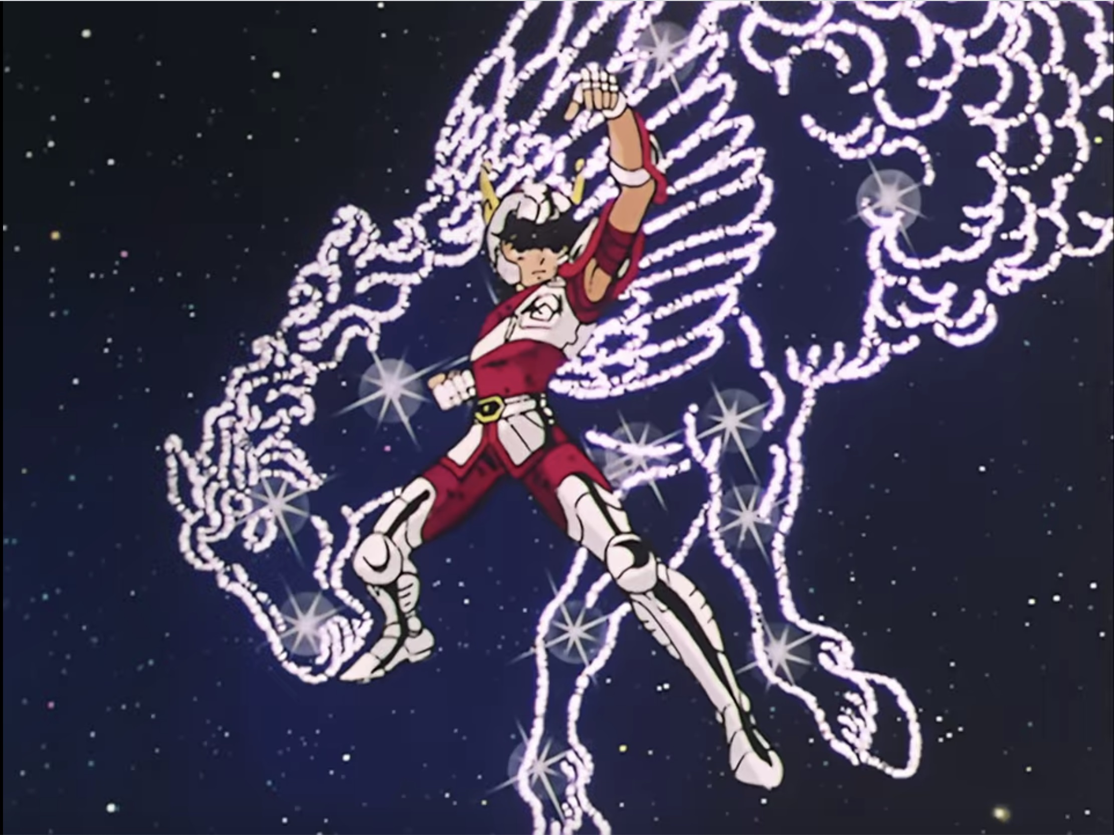 Seiya poses in front of a constellation of Pegasus in a scene from the 1986 - 1989 Saint Seiya TV anime.