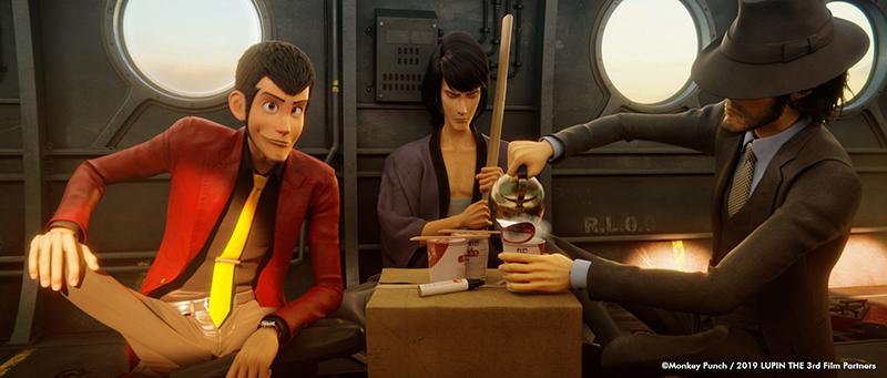 Lupin, Goemon y Jigen preparan ramen instantáneo