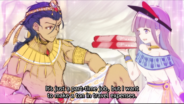 Minamo Arai attempts to impress a Pharaoh with her pizza deliver skills in a scene from HIMOTE HOUSE: A share house of super psychic girls.