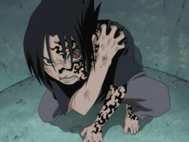 Sasuke is caught part-way through the transformation of his Curse Mark.