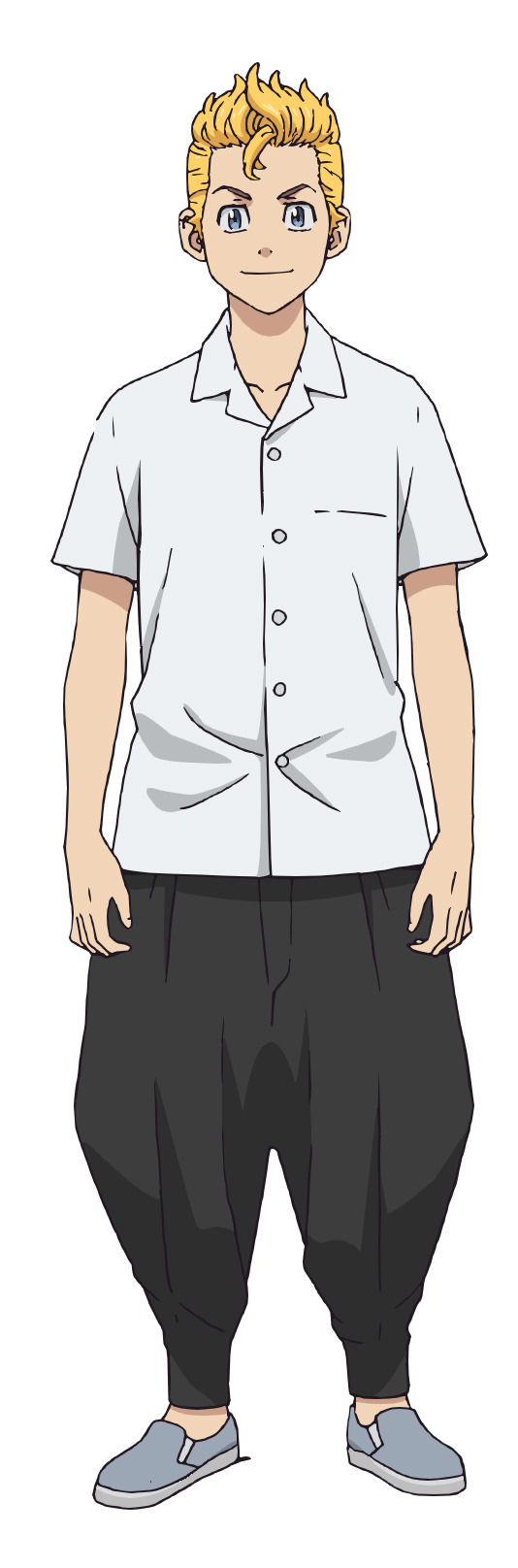 A character setting of protagonist Takemichi Hanagaki as a middle school delinquent from the upcoming Tokyo Revengers TV anime.