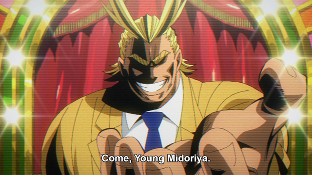 d368c0e4 Sure, All Might doesn't actually have any kids, but that doesn't make him  any less of a dad in our eyes! All Might is the ideal image of a model  father.