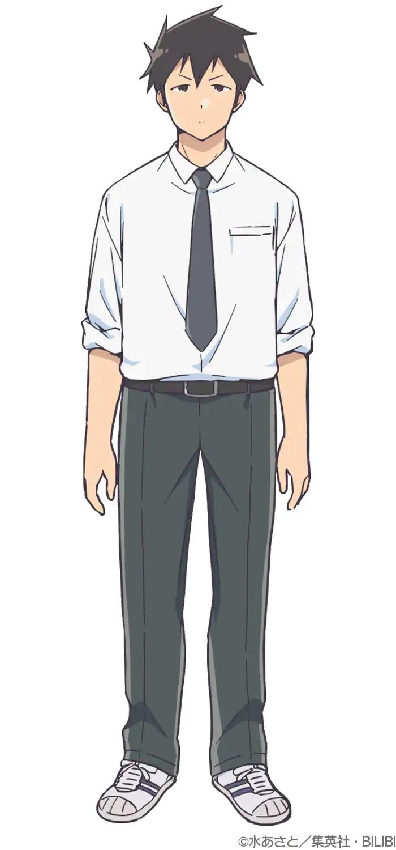 Un escenario de personaje de Raidou del próximo anime de televisión Aharen wa Hakarenai.  Raidou es un joven alto con cabello oscuro puntiagudo y ojos oscuros que viste camisa de vestir, corbata, pantalones y tenis.