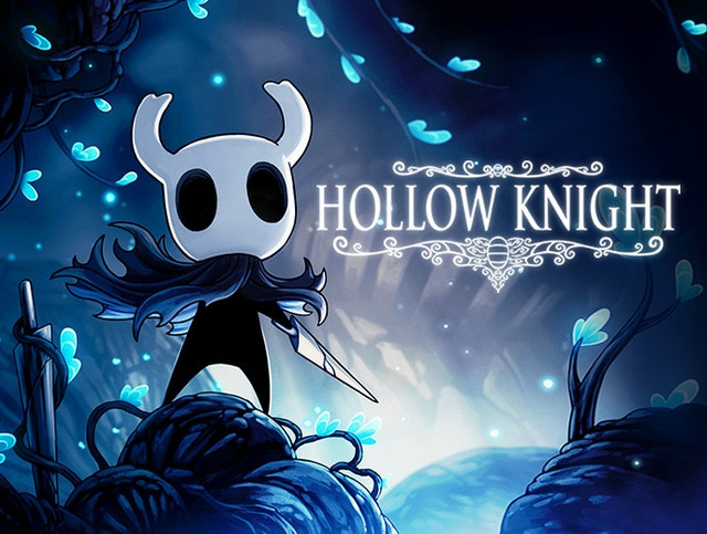A key visual featuring the beetle-like protagonist of the indie platforming adventure game, Hollow Knight.