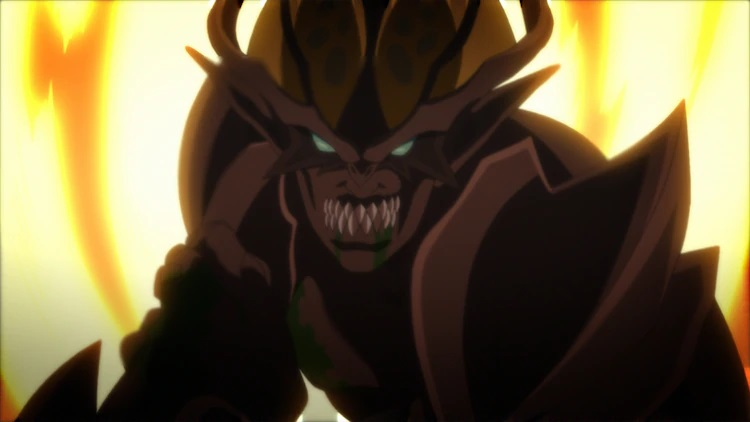 """Bem, a """"humanoid monster"""" in his monstrous battle-form, prepares to fight while surrounding by lapping flames in a scene from the trailer for the upcoming BEM ~BECOME HUMAN~ theatrical anime film."""