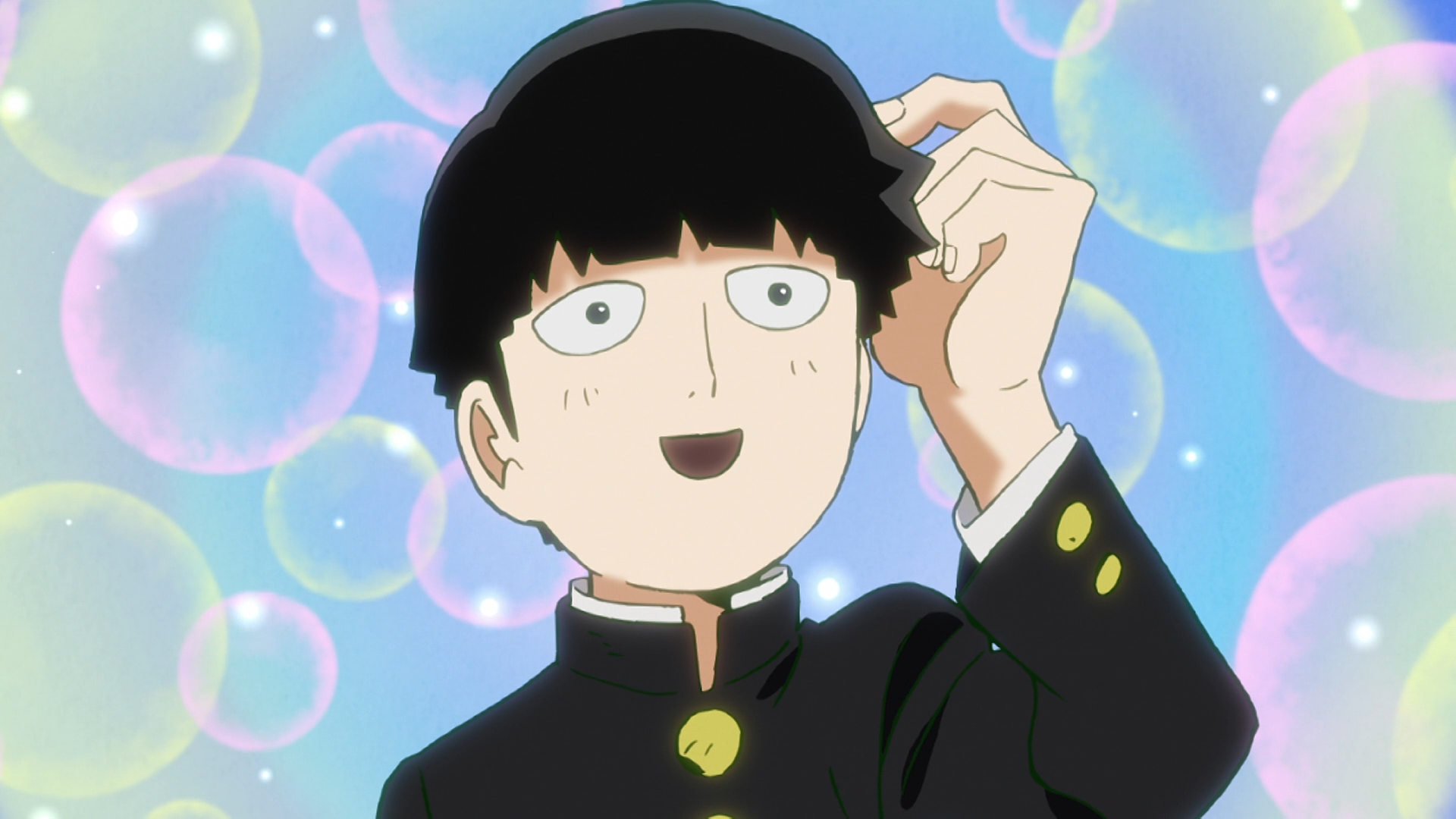 """Shigeo Kageyama, también conocido como """"Multitud"""", expresa satisfacción por una amenaza que confunde con un halago en una escena del anime de televisión Mob Psycho 100."""