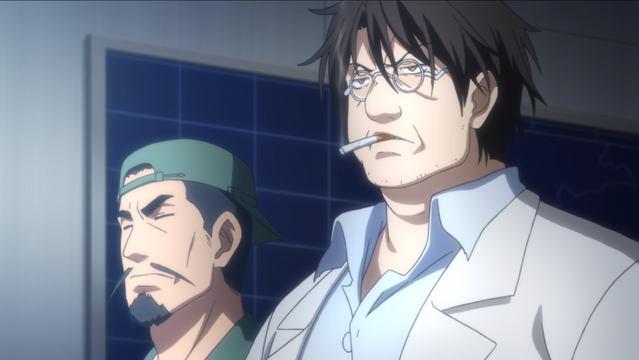 Yashirodori, flanked by Funato, looks particularly frazzled and grumpy in a scene from the Girly Air Force TV anime.