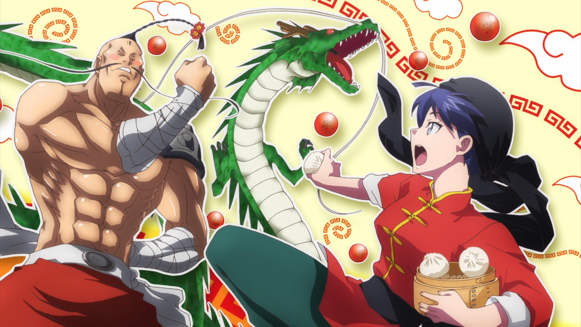 While dressed as Ranma Saotome from Ranma 1/2, Chinese cosplayer Beibei Yang faces off against parodies of Ramenman from Kinnikuman and Shenlong from Dragon Ball in a scene from the 2017 Anime-Gataris TV anime.