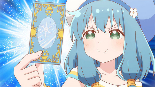 Mei flashes a Cartado card in a scene from the ENDRO! TV anime.