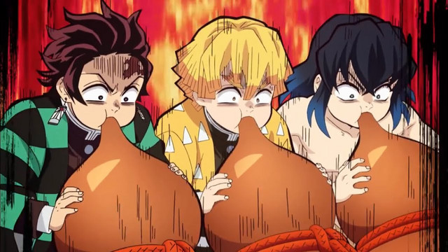Tanjiro, Zenitsu, and Inosuke attempt to burst gourds through sheer lung power in a scene from the Demon Slayer: Kimetsu no Yaiba TV anime.