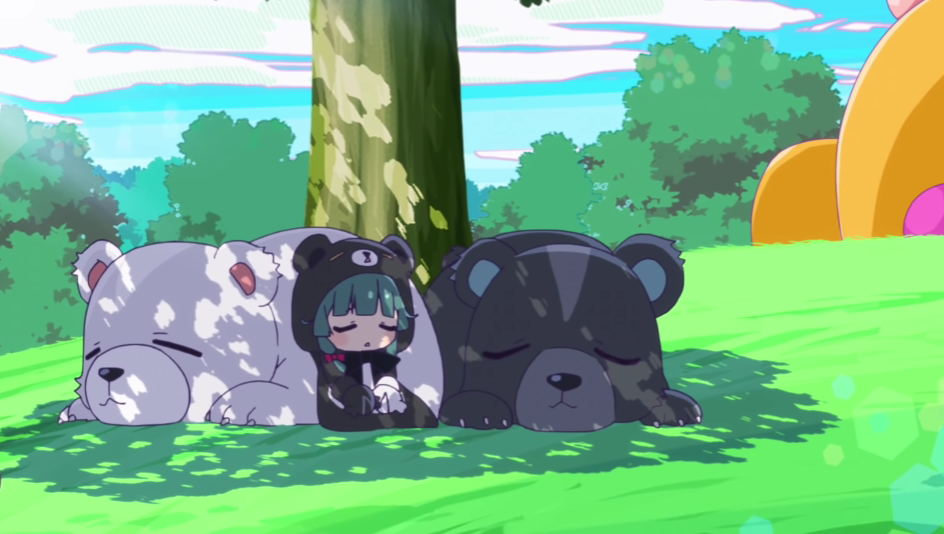 Yuna and her bear companions nap in the shade of a tree in a scene from the Bear Bear Bear Kuma Youtube mini animation, a spin-off of the Kuma Kuma Kuma Bear TV anime.