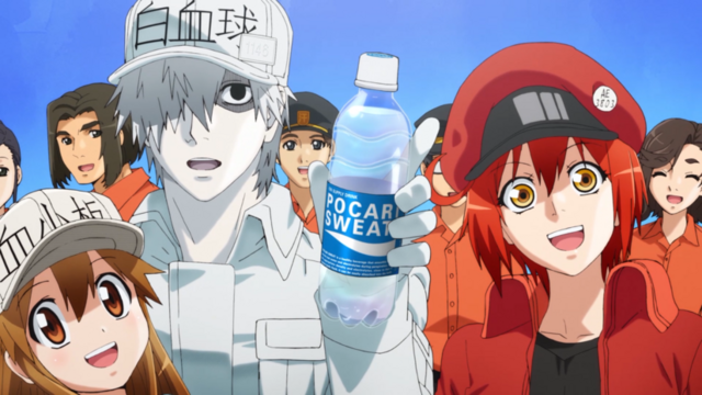 White Blood Cell and company stay hydrated with a cool, refreshing bottle of Pocari Sweat.