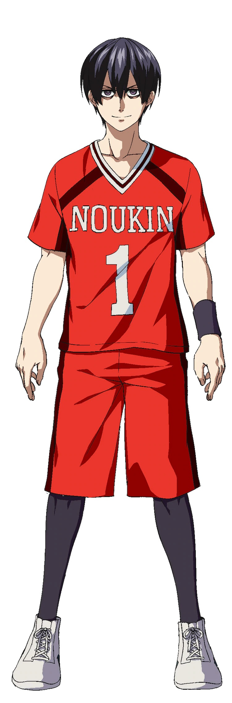 A character visual of Masato Ohjyo, one of the main characters from the upcoming Burning Kabaddi TV anime, in his kabaddi uniform. Masato has dark hair and dark eyes with dark circles under them, and he sports a fierce and determined expression.