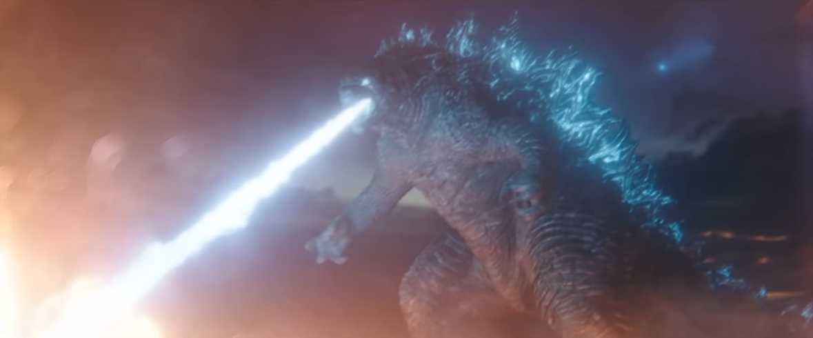 Godzilla unleashes a torrent of radioactive fire from its mouth in a scene from the Japanese trailer for the upcoming Godzilla vs. Kong theatrical film.