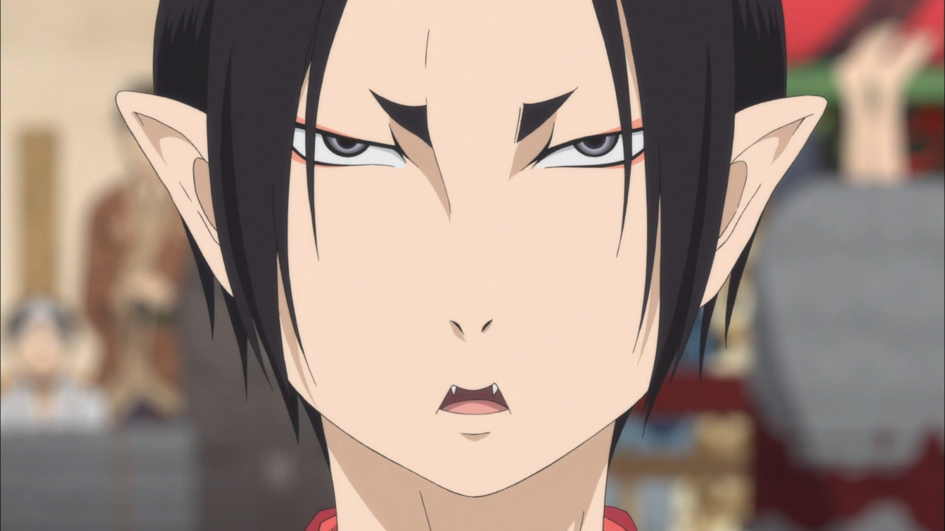 Hozuki, a demonic administrator, is all business in a scene from the Hozuki's Coolheadedness TV anime.