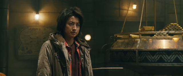 """Kaiji Ito (played by actor Tatsuya Fujiwara) confronts the """"Final Judgment"""" game during the Tower of Babel event in the 2019 KAIJI: FINAL GAME live-action film."""