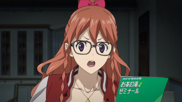 Wielding glasses and a menu, Mary Morstan is out for clues in the Kabukicho Sherlock TV anime.