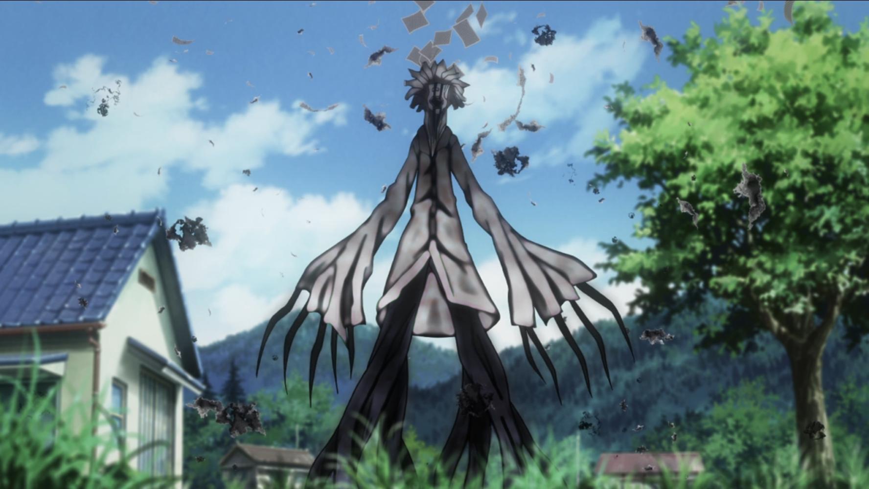 Un Nanaki con la forma de un profesor malévolo se cierne cerca de las afueras de la aldea en una escena del anime televisivo The Lost Village de 2016.
