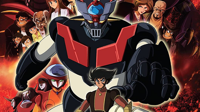 The cast of Mazinger Edition Z, with the robot Mazinger Z central