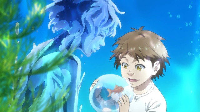 A young Hiroki explores his psychic powers in a scene from the upcoming pet TV anime.