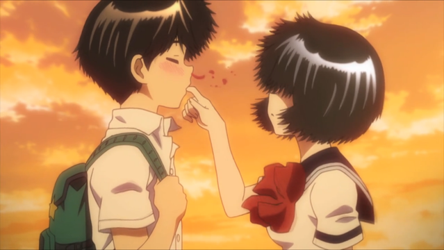 Akira gets overly stimulated while sampling his girlfriend's saliva in a scene from the Mysterious Girlfriend X TV anime.