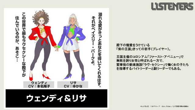 Characters visuals for Wendy and Lisa, two characters from the upcoming LISTENERS TV anime.