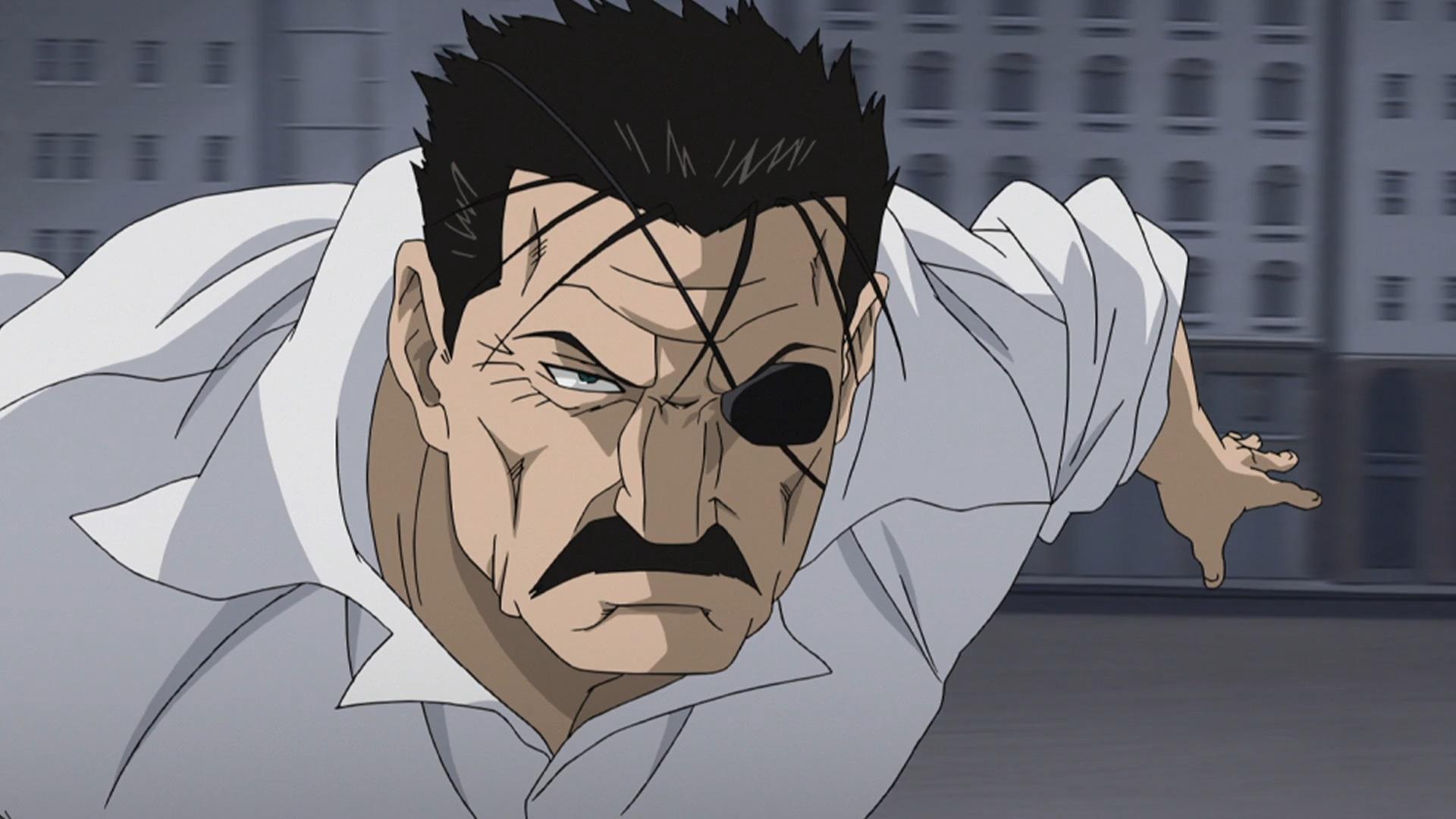 King Bradley se lanza a la batalla con una expresión ceñuda en su rostro en una escena del anime Fullmetal Alchemist.