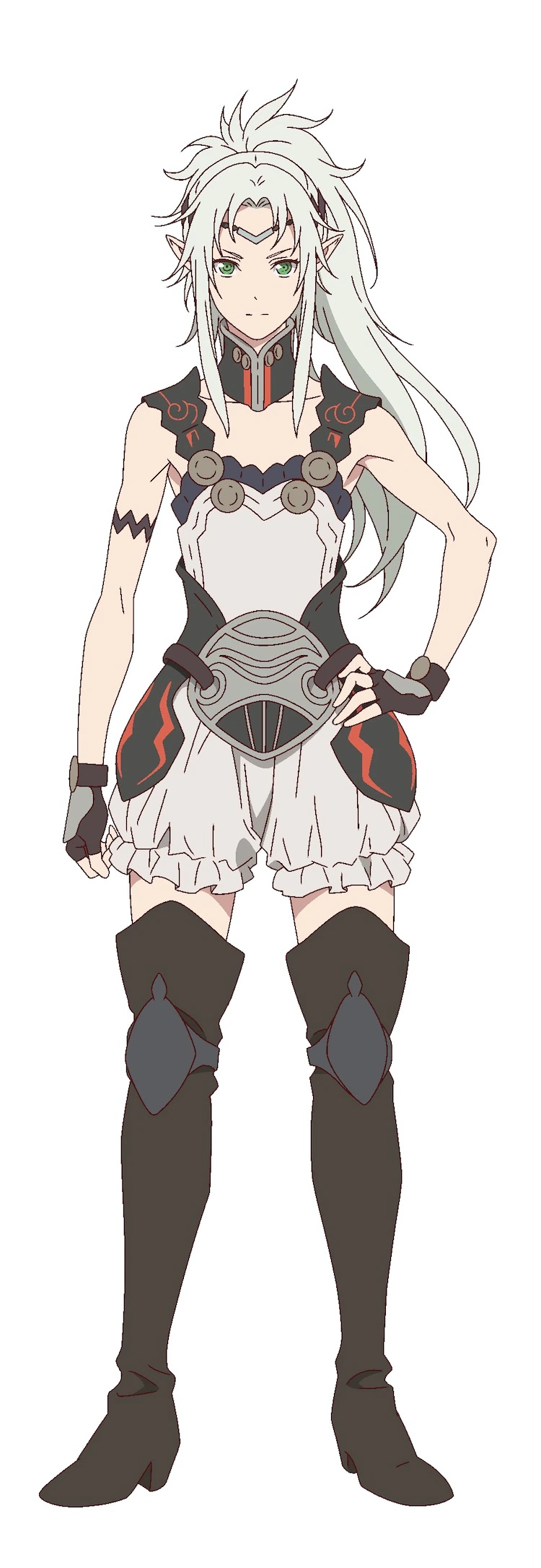 A character setting of Menel, a half-elf ranger from the upcoming The Faraway Paladin TV anime. Menel is slim and androgynous in appearance. The have green eyes and silver hair and they are dressed in a tunic and pantaloons with thigh high leather boots.