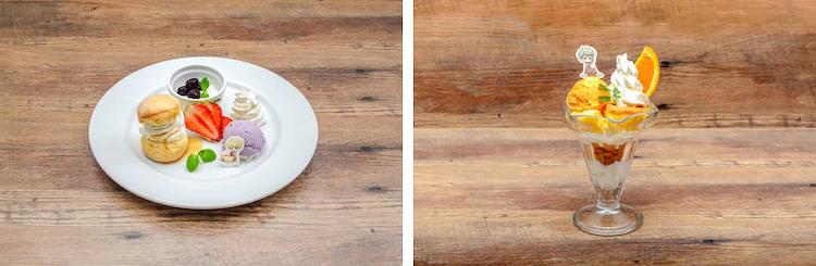 Bond's scone and yogurt plate / John's orange yogurt parfait